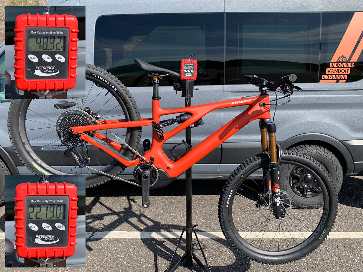 actual weight of specialized turbo levo e-mountain bike