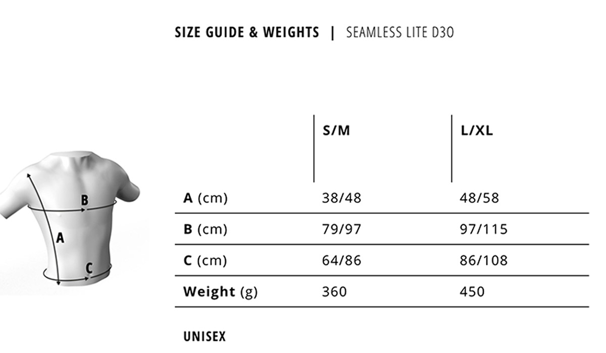 bluegrass seamless d30 back protector size guide