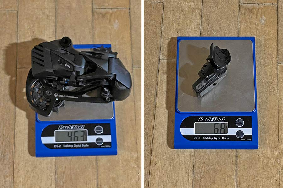 SRAM GX Eagle AXS parts on a scale to show actual weights