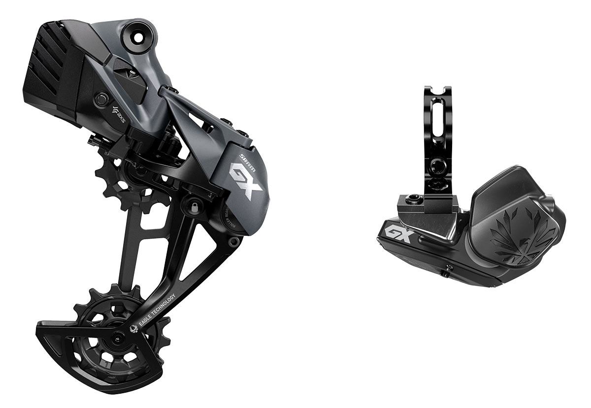 SRAM GX Eagle AXS group, low-cost 1x12-speed wireless electronic MTB mountain bike drivetrain, rear derailleur & controller