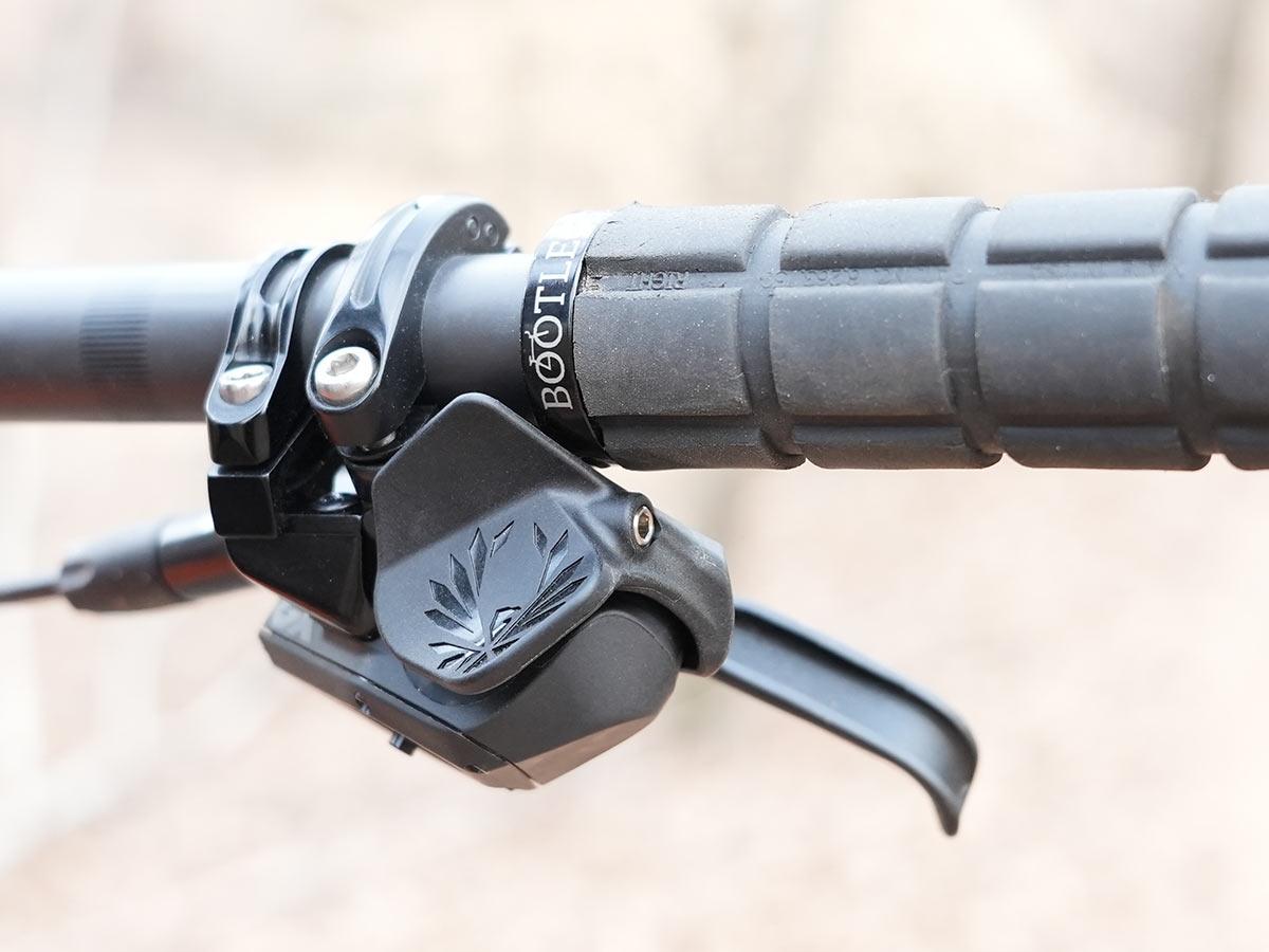 sram gx eagle axs paddle shifter installed on a mountain bike