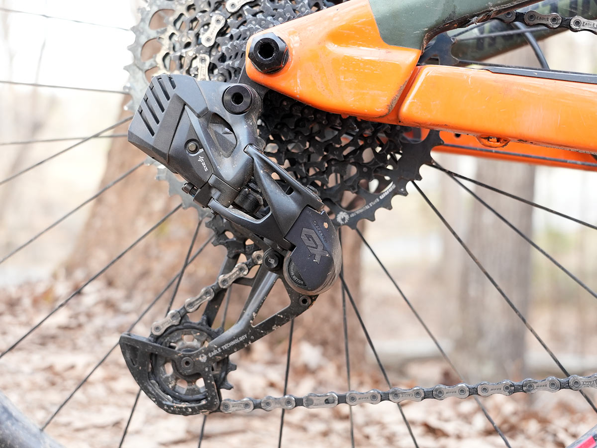 sram gx eagle axs rear derailleur installed on a mountain bike