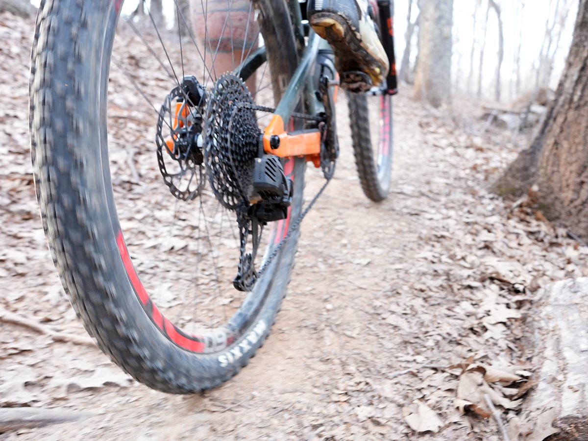 riding up a hill and shifting the new sram gx eagle axs wireless rear derailleur under heavy load