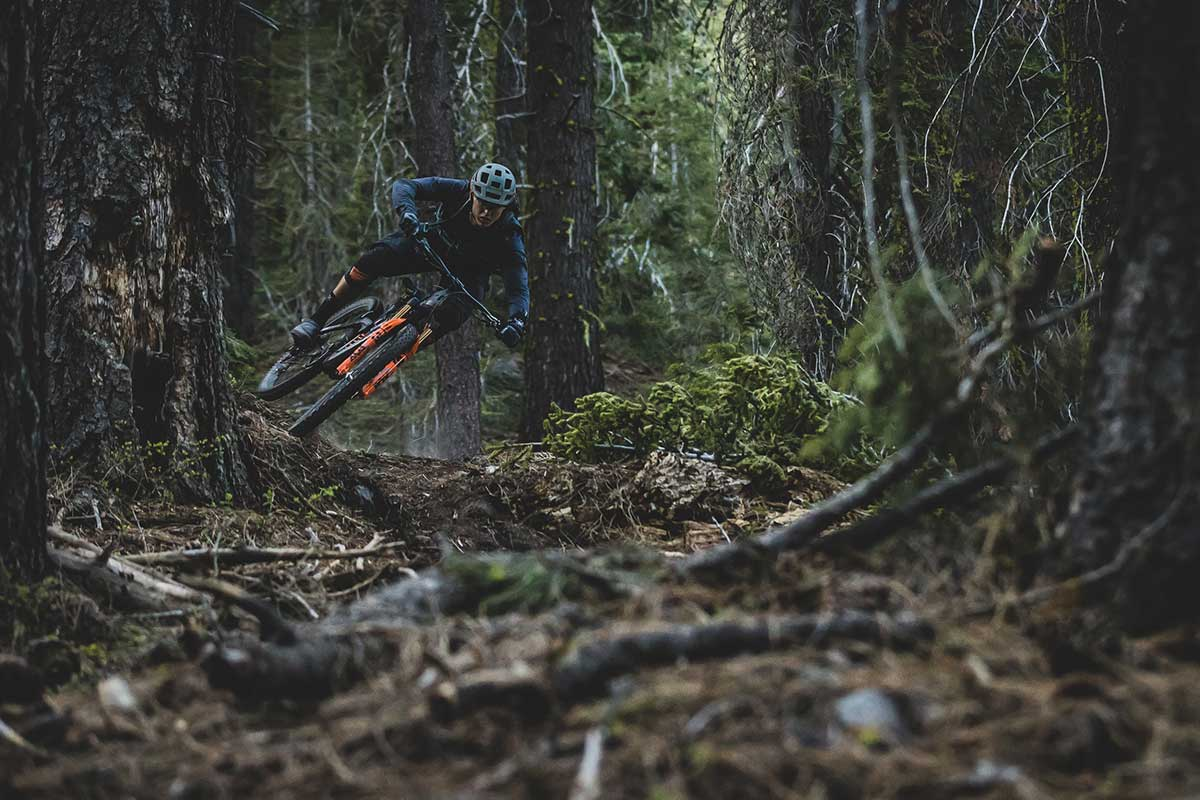 mtb rider sideways airborne wtb tires riding singletrack downhill fast