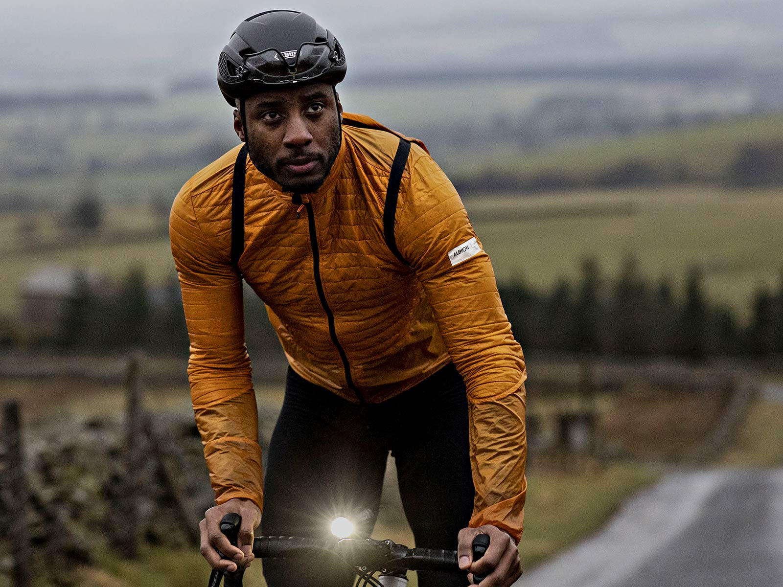 Albion Ultralight Insulated Jacket, ultra lightweight packable breathable eco cycling jacket and backpack,front