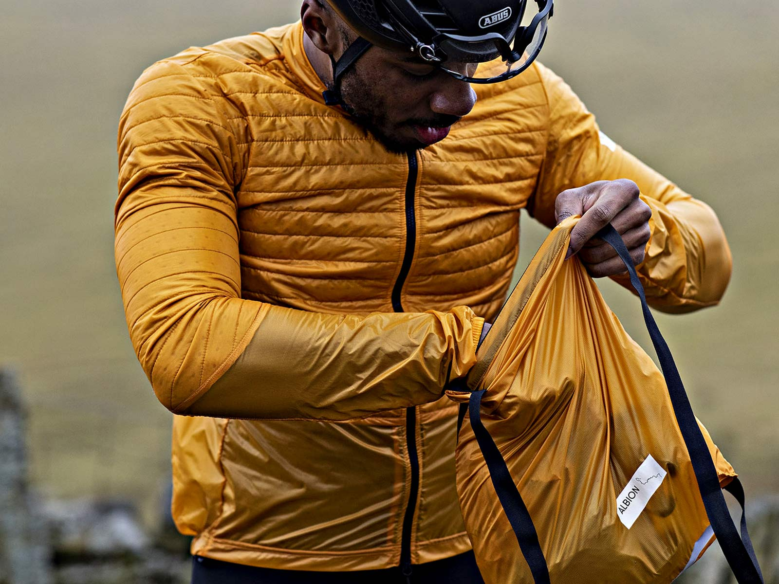 Albion Ultralight Insulated Jacket, ultra lightweight packable breathable eco cycling jacket and backpack, packing