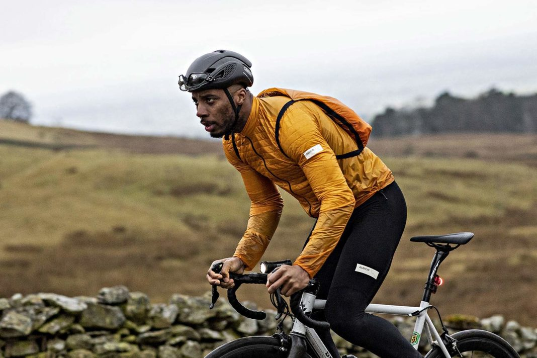 Albion Ultralight Insulated Jacket, ultra lightweight packable breathable eco cycling jacket and backpack, riding