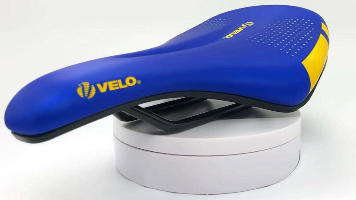 velo emtb saddle blue yellow