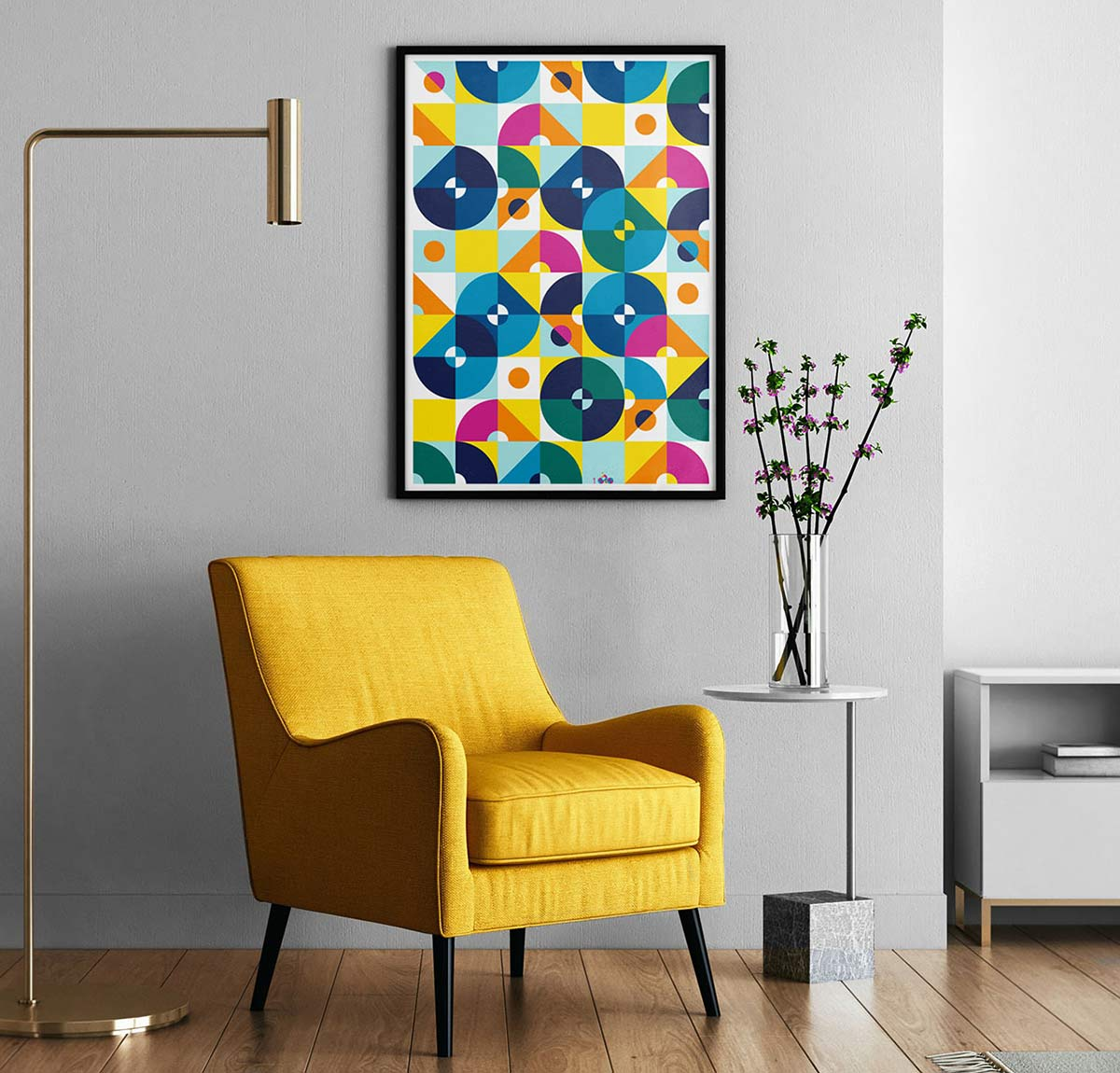100copies #47, 8 Cyclists art print mounted