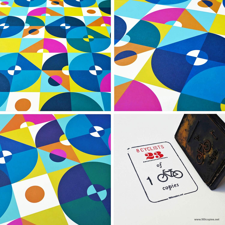 100copies #47, 8 Cyclists art print details