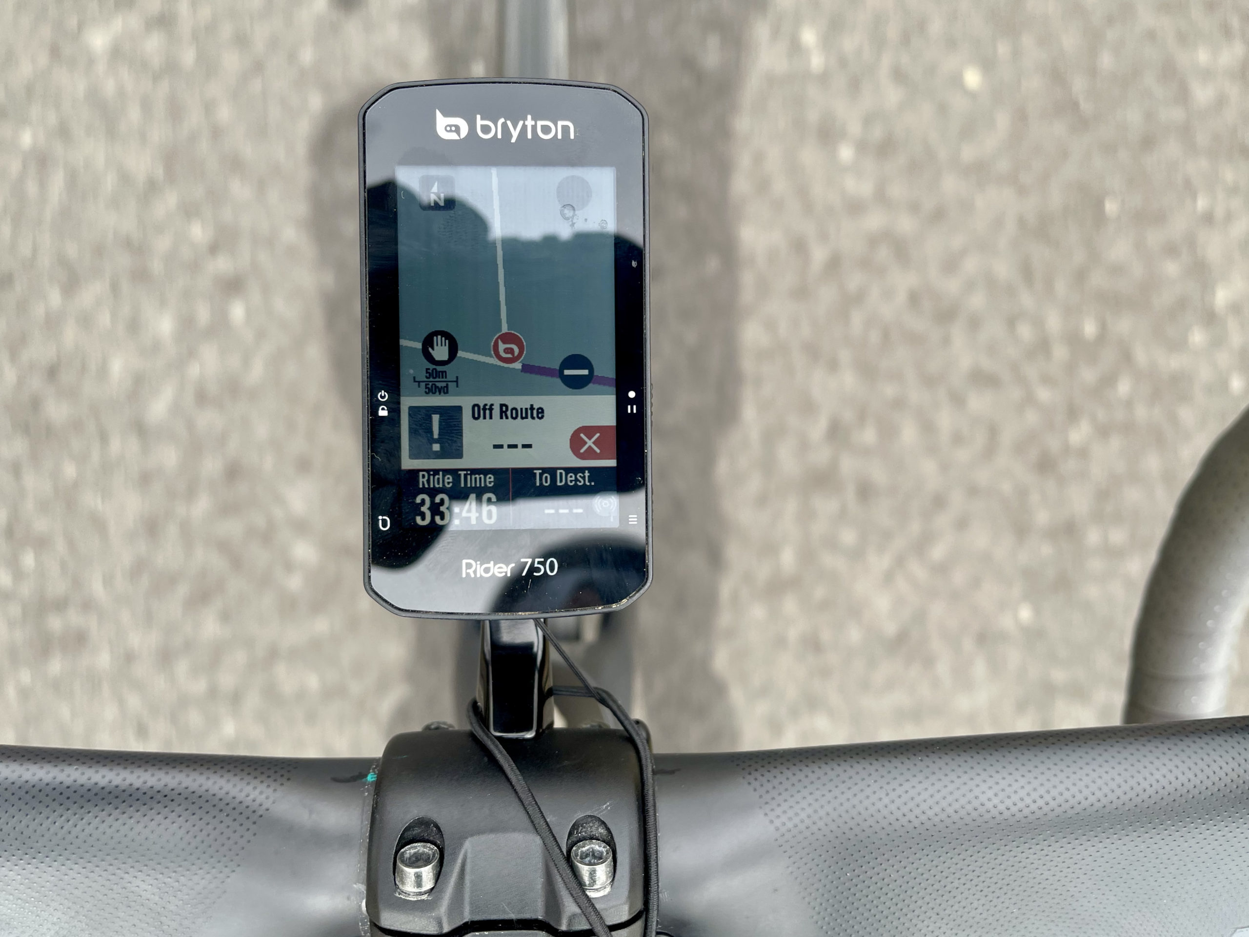 Bryton Rider 750 Review off route