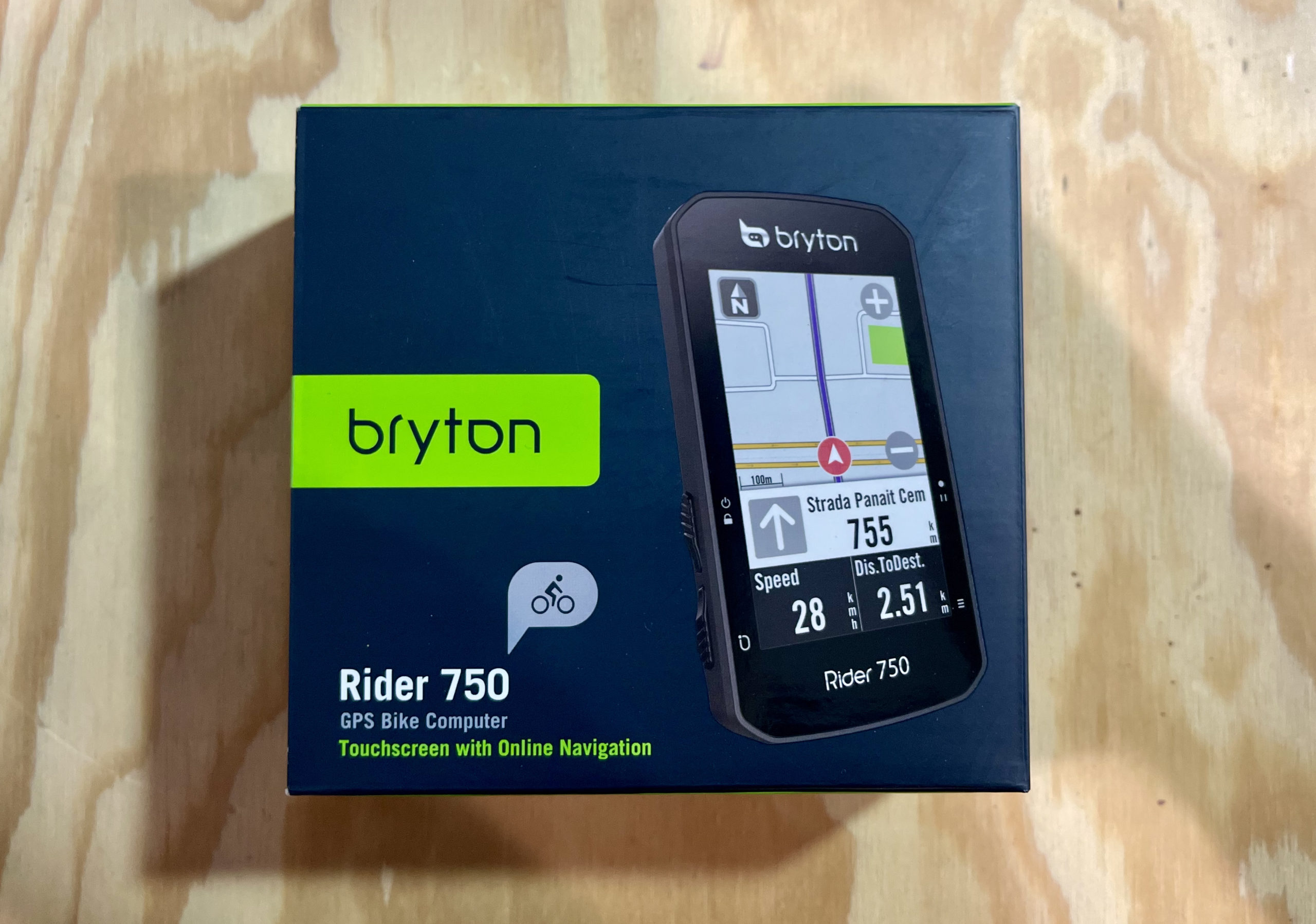 Bryton Rider 750 Review unit close up package
