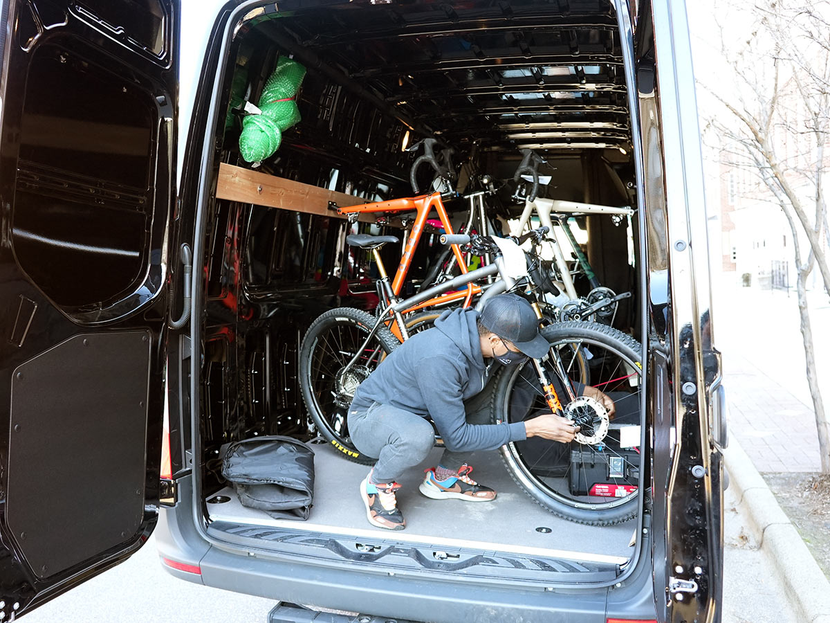 litespeed bikes home delivery service van assembling a mountain bike before delivery