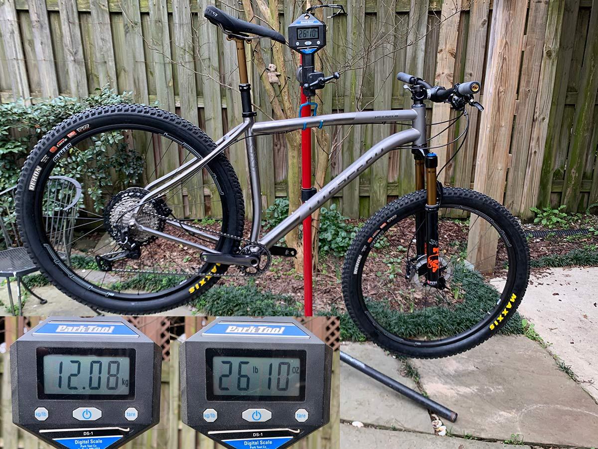 actual weight of litespeed pinhoti 3 mountain bike on a scale