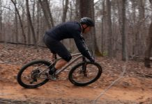 litespeed pinhoti 3 titanium mountain bike riding around a beamed corner