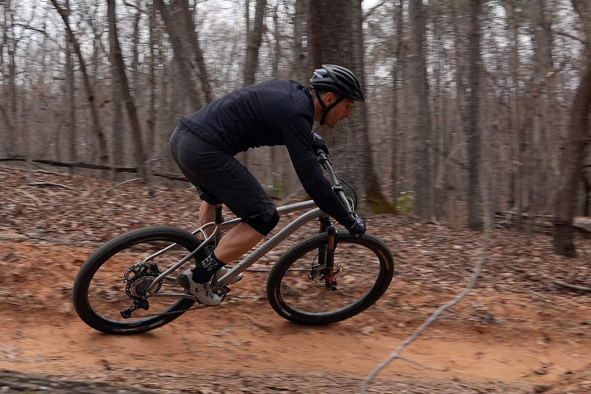 litespeed pinhoti 3 titanium mountain bike riding around a beamed corner