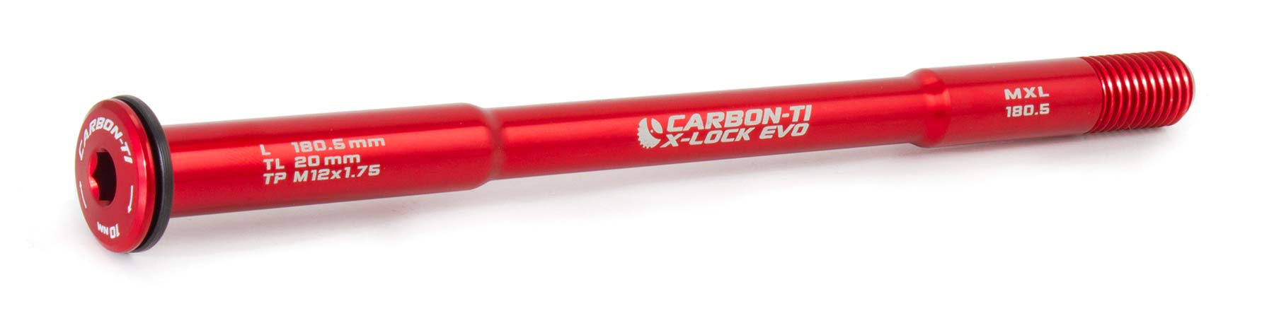 Carbon-Ti X-Lock Evo thru axles, lightweight 7075 alloy bolt-on replacement thru-axles, tapered