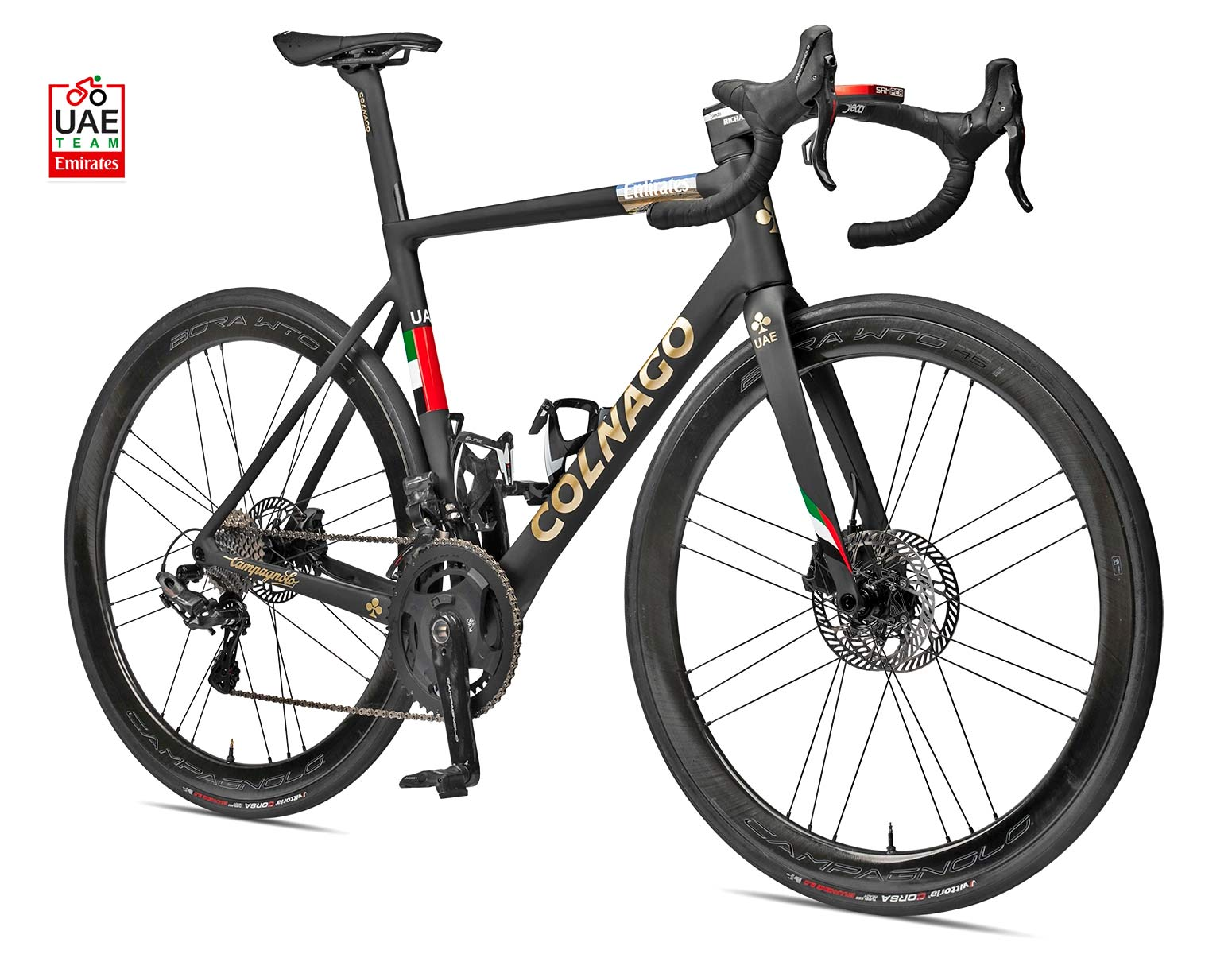 Campagnolo Smart Disc Technology, double disc brake-equipped Colnago V3RS DV road bike