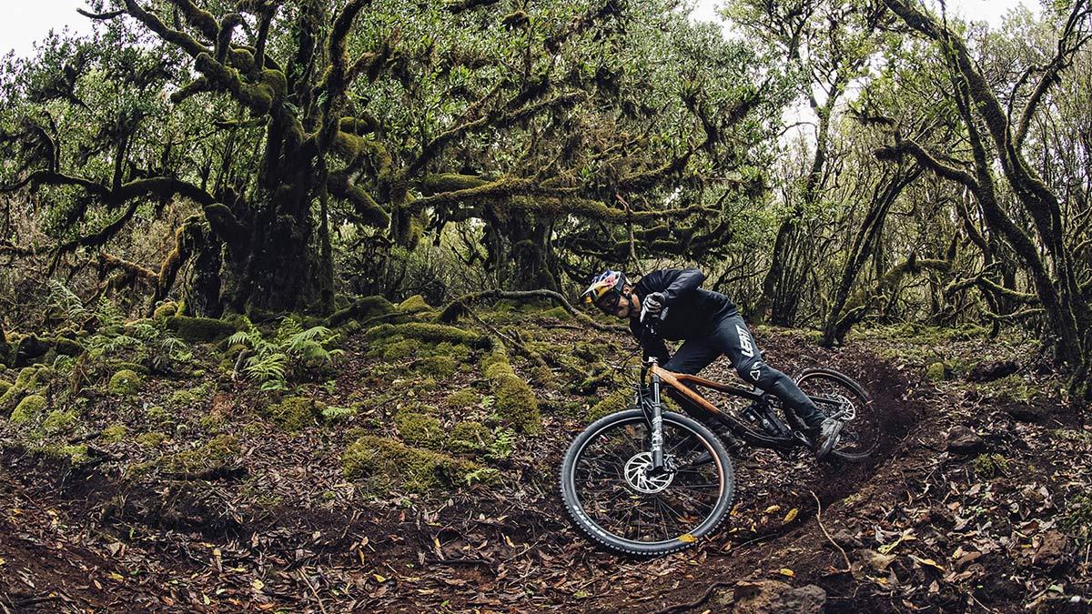 NS Bikes Define AL 170 long-travel mullet enduro plus all-mountain bike, ride photo by Bartek Wolinski, berm