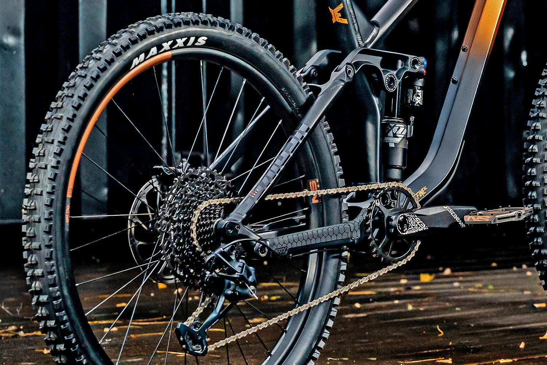 NS Bikes Define AL 170 long-travel mullet enduro plus all-mountain bike, photo by Piotr Jurczak, rear end detail
