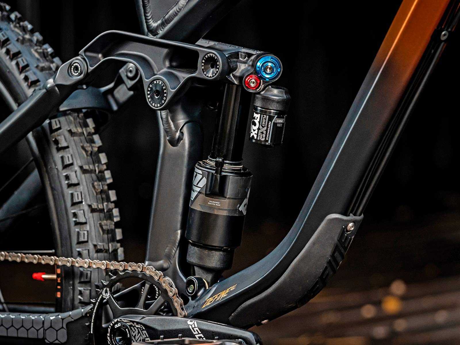 NS Bikes Define AL 170 long-travel mullet enduro plus all-mountain bike, photo by Piotr Jurczak, suspension detail