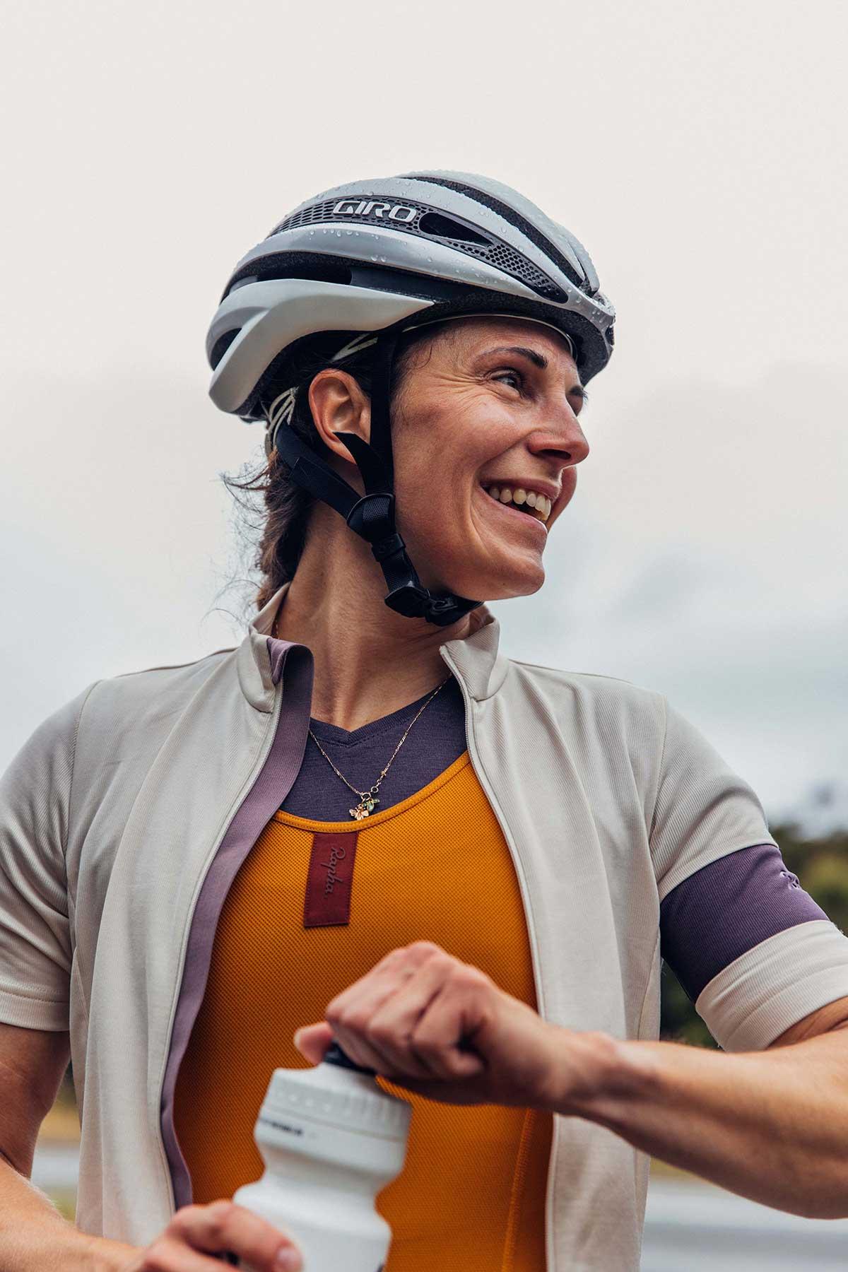 rapha classic womens road cycling jersey zipup shprt sleebe white recycled fabric merino wool blend