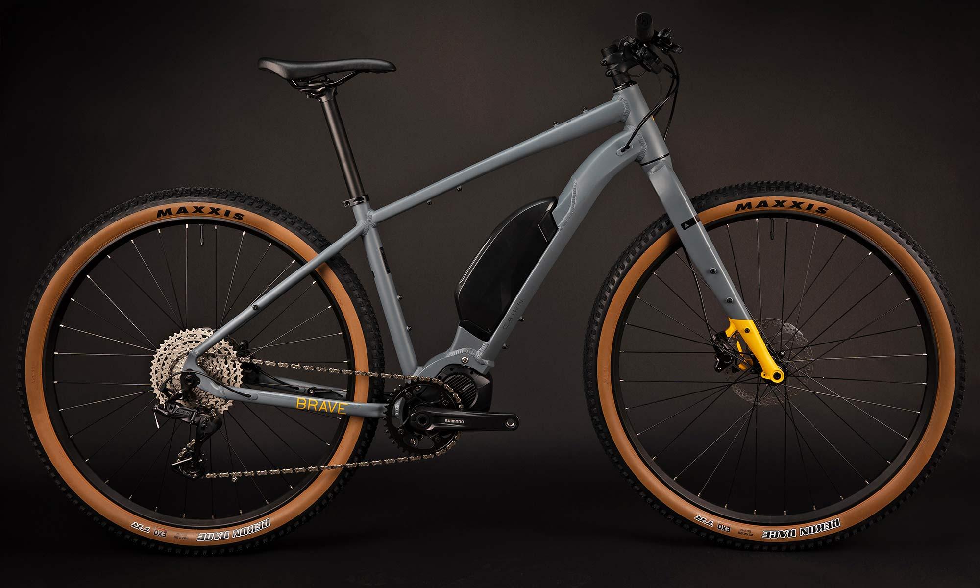 Cairn Brave adventure e-bike, rigid alloy off-road gravel bikepacking mountain eMTB,flat bar