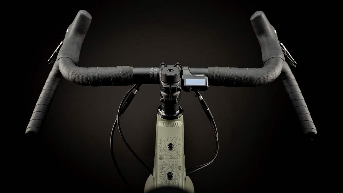 Cairn Brave adventure e-bike, rigid alloy off-road gravel bikepacking mountain eMTB,drop bar detail