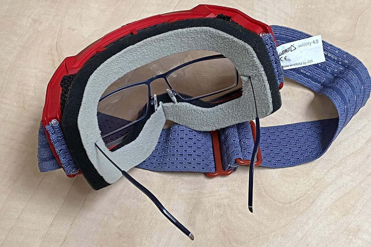 Leatt Velocity 4.0 MTB lighter, vented mountain bike goggles, OTG glasses-friendly