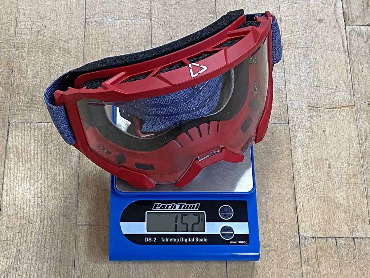 Leatt Velocity 4.0 MTB goggles, 152g actual weight