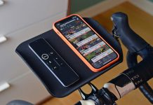 Foothill Trainer Tray, lightweight US-made phone remote snack holder for indoor training, Zwift