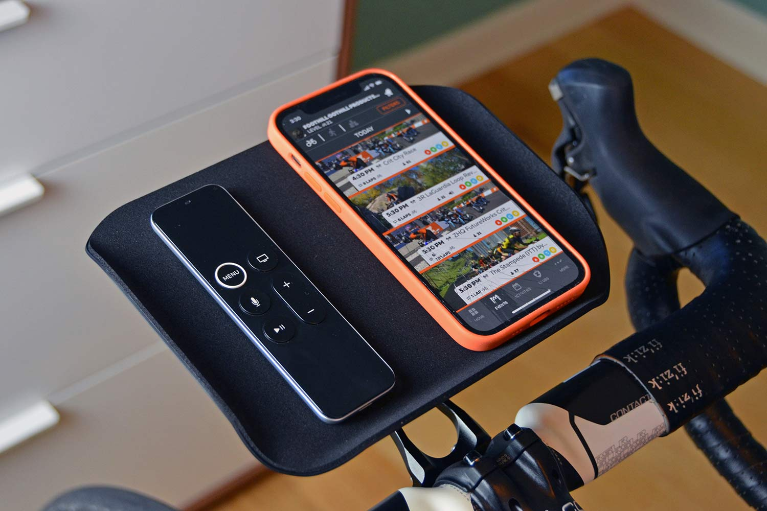 Foothill Trainer Tray, lightweight US-made phone remote snack holder for indoor training,Zwift