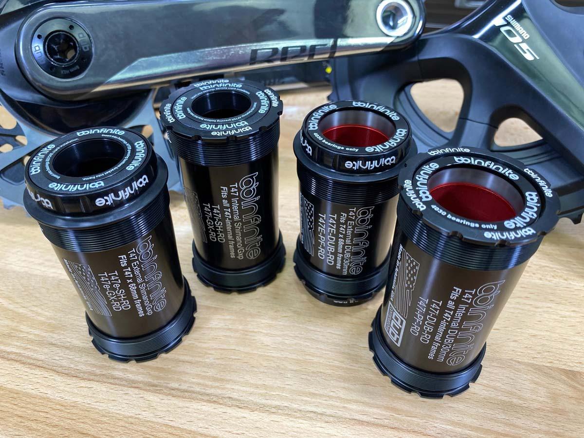 t47 bottom brackets from bbinfinite internal external dub 30mm gxp praxis shimano