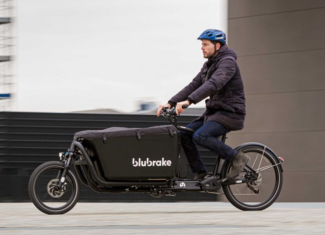 Blubrake e-bike ABS system, rider on e-cargo bike