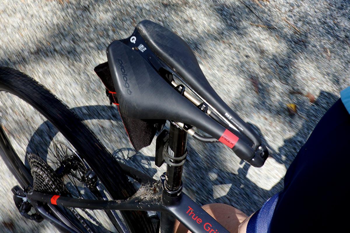 prologo dimension agx saddle being ridden on a gravel bike