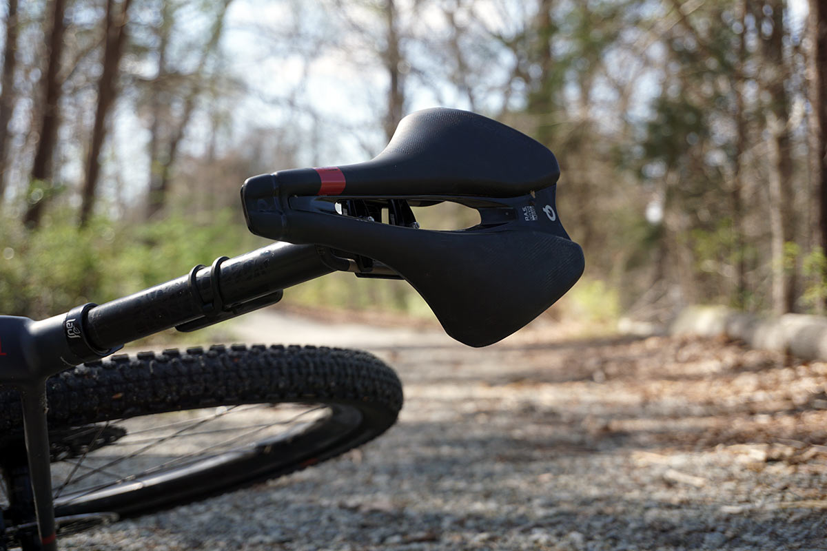 prologo dimension agx gravel saddle shown on a bike
