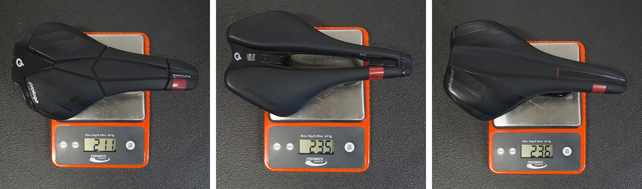 prologo agx saddles actual weights on a scale