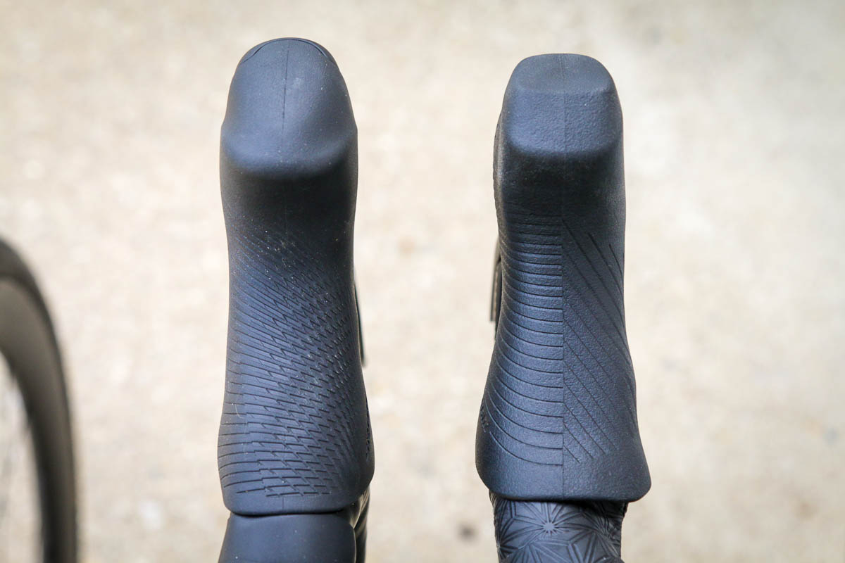 SRAM Rival eTap AXS shifter hood size comparison with force