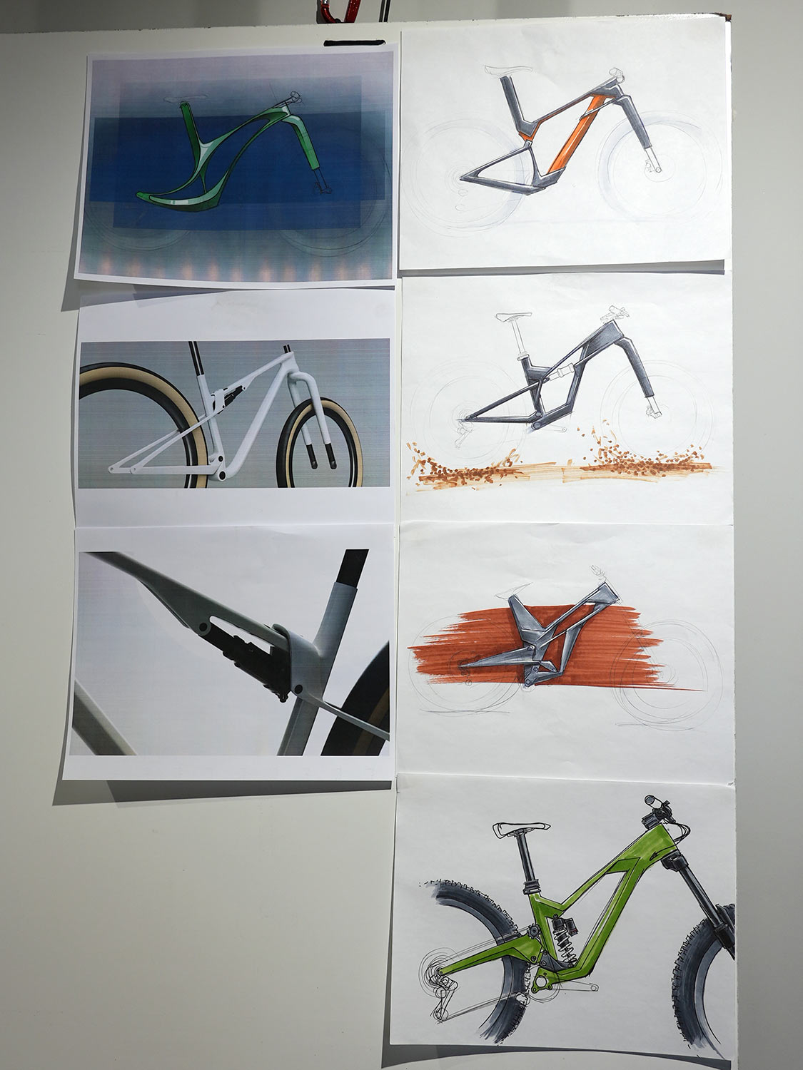 bicycle concept drawings for road and gravel bikes and mountain bikes from fezzari