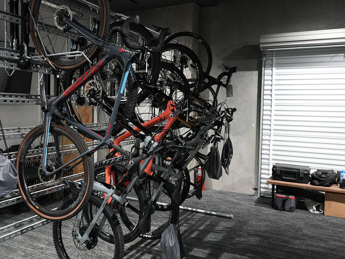 fezzari headquarters tour with bicycles waiting to be photographed