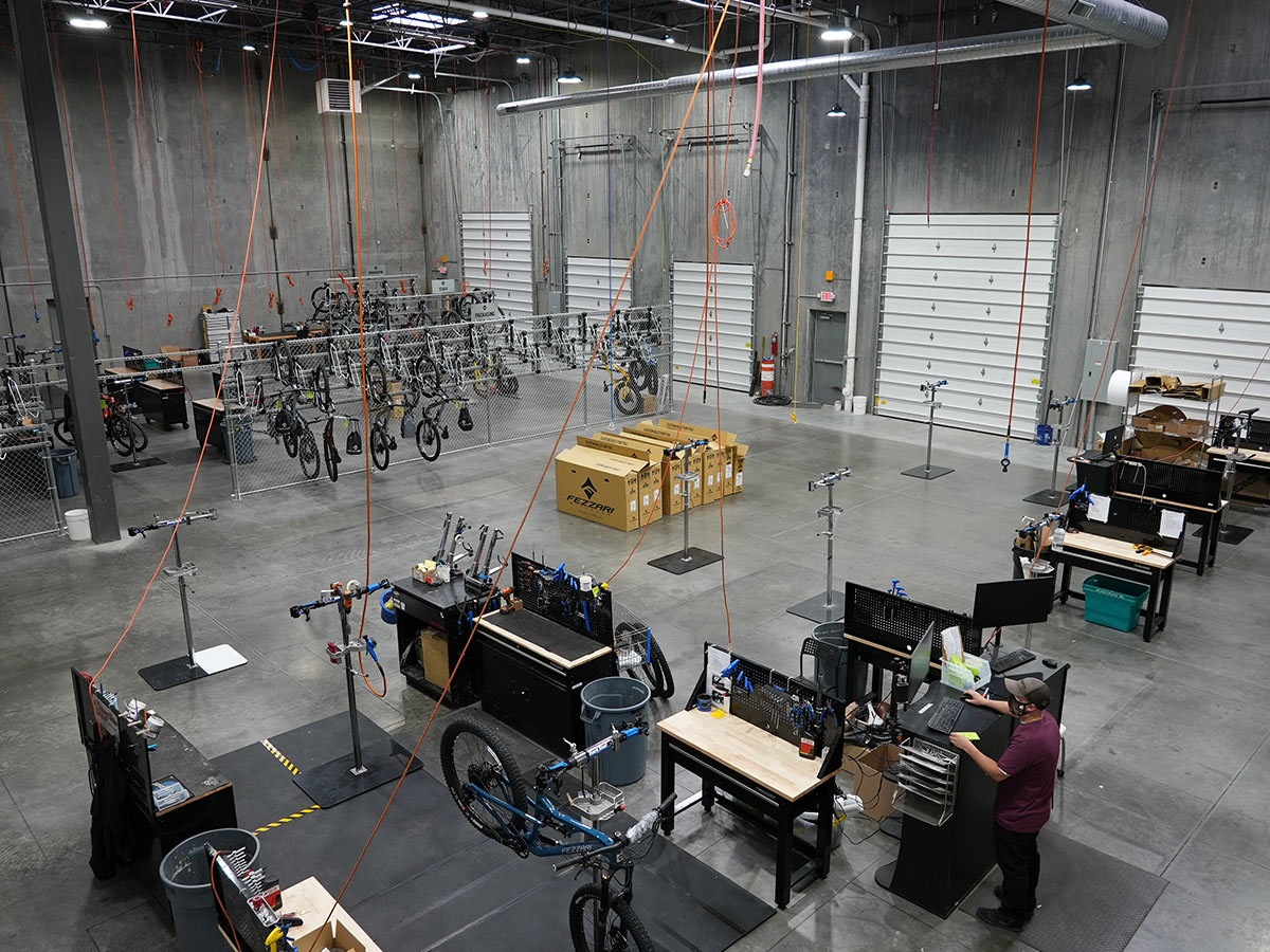 fezzari headquarters tour assembly area for bicycles