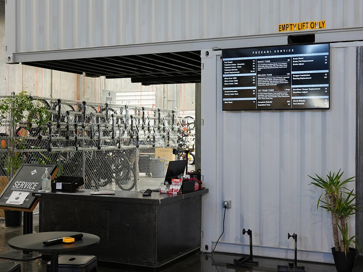 fezzari headquarters tour of bicycle service area