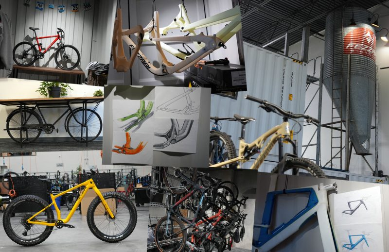 collage of images from fezzari bicycles headquarters tour