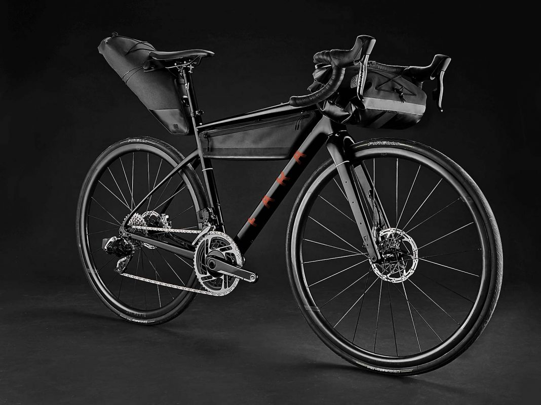 2021 Fara F-AR all-road bike ltd Signature Edition, carbon endurance gravel road bike with integrated bikepacking bags, complete angled