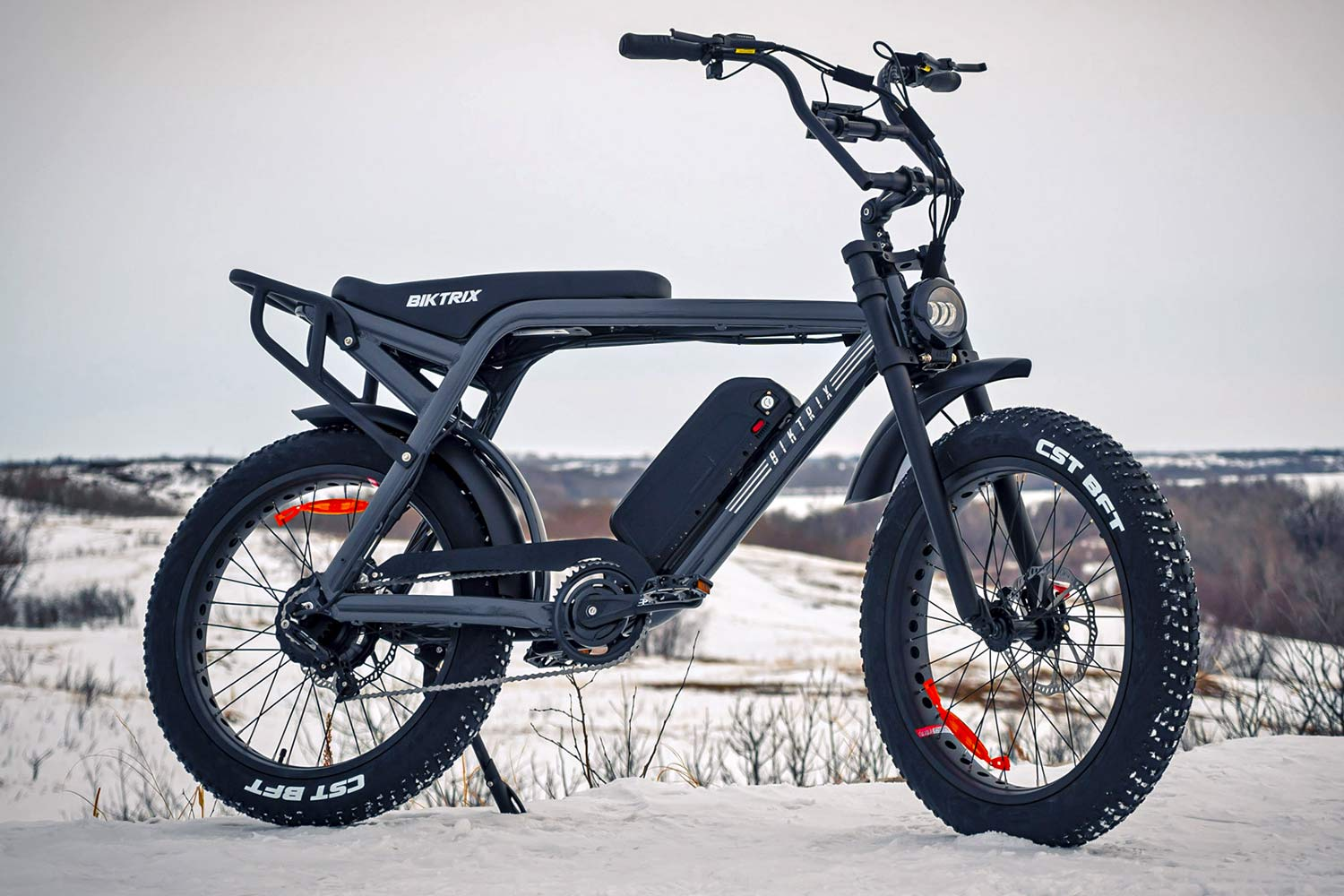 Biktrix Moto e-bike, urban mobility eMTB e-moped alternative transportation, snowy
