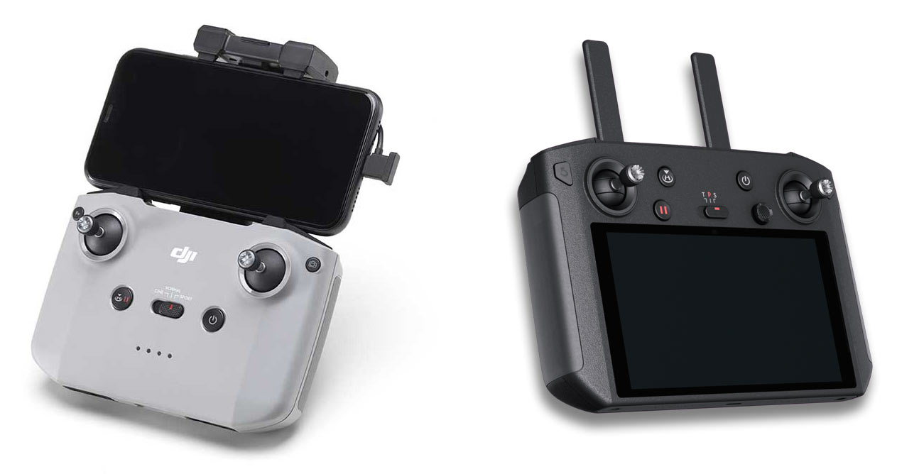 dji air 2 remote control shown next to smart controller upgrade