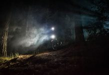 gloworm g2 lights on a mountain bike riding at night
