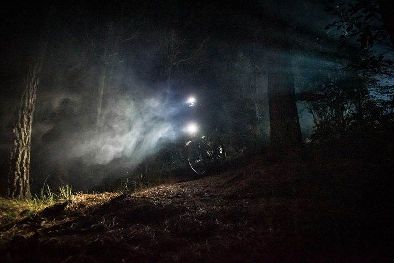 gloworm g2 lights on a mountain bike riding at night