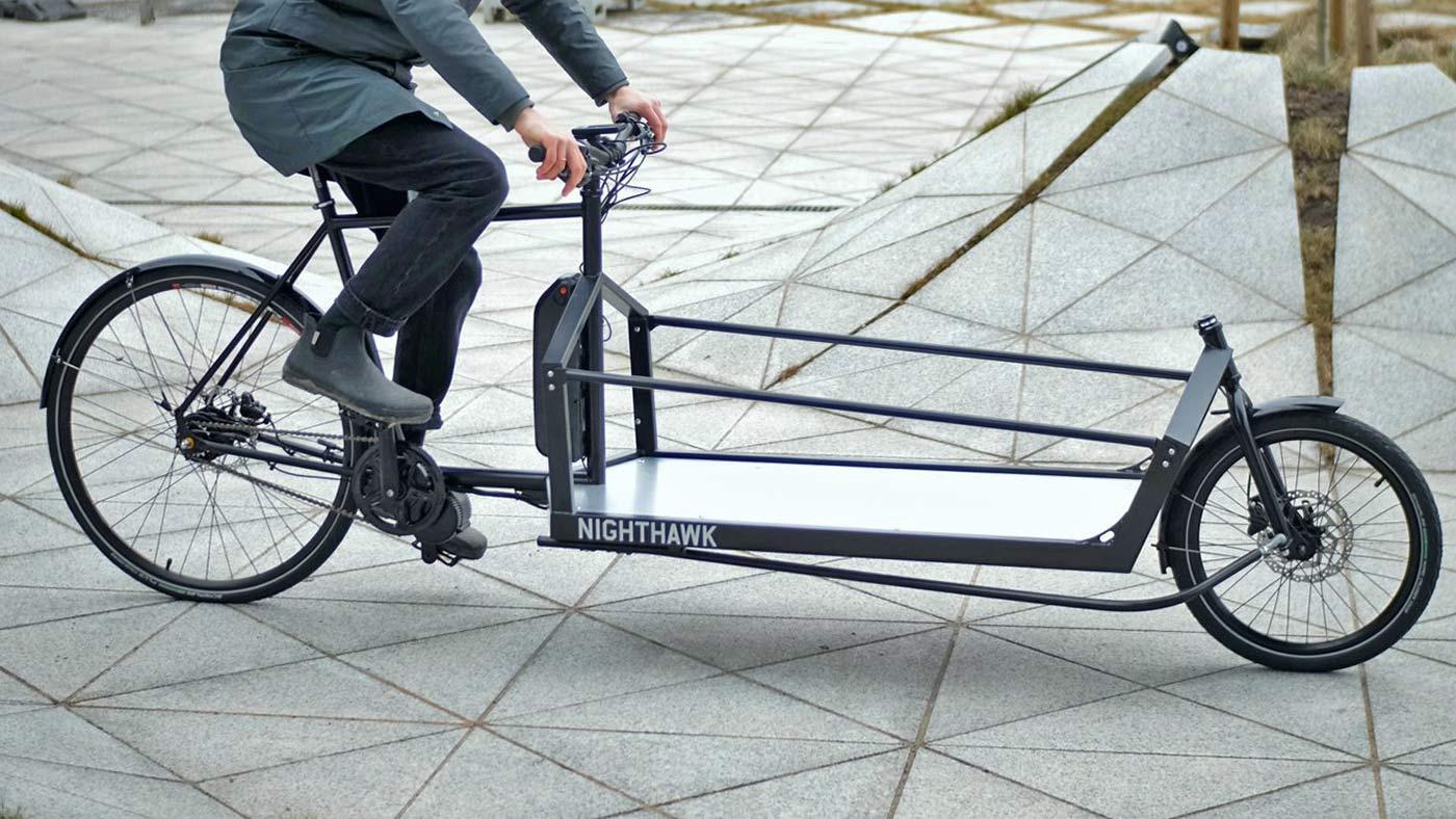 KP Cyclery Nighthawk steel cargo bike, affordable EU-made customizable long john cargo bikes,extra-long custom