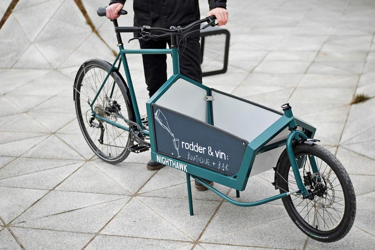 KP Cyclery Nighthawk steel cargo bike, affordable EU-made customizable long john cargo bikes,custom side panels
